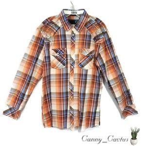 Roar 100% cotton plaid shirt size large